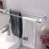 Decopatent® Dubbele Handdoekrek - Handdoekhouder 2 Haken - Badkamer - Keuken - Zonder Boren - Handdoekenstang - Handdoekenrek - Chroom