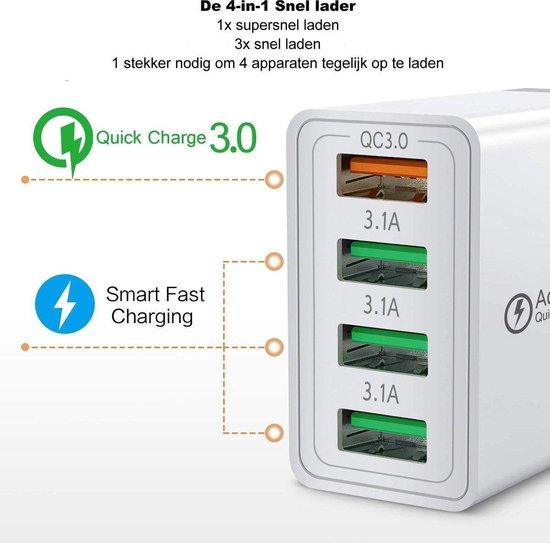 USB Oplaadstekker met 4 poorten, 1 snellaad poort - Kleur: Zwart - Opladen binnen 40 minuten - 4-in-1 - Qualcomm 3.0 - Thuislader -USB Snellader -  USB Stekker - USB Oplader - USB Lader - 5V 3A - 9V 2A - 12V 1,6A