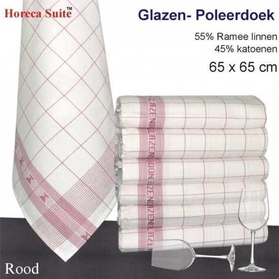 Glazendoek / Poleerdoek 65x65 - Rood (per 12 stuks)