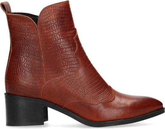 Manfield Dames Cognac cowboylaarsjes met lage hak Maat 39