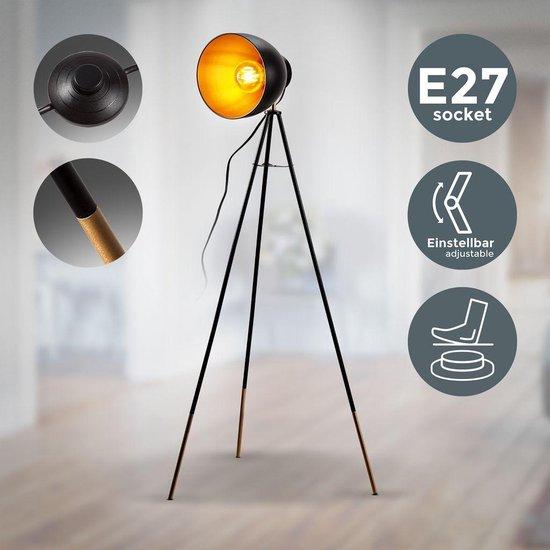 B.K.Licht - Vloerlamp - diameter 24cm - zwart goud - E27
