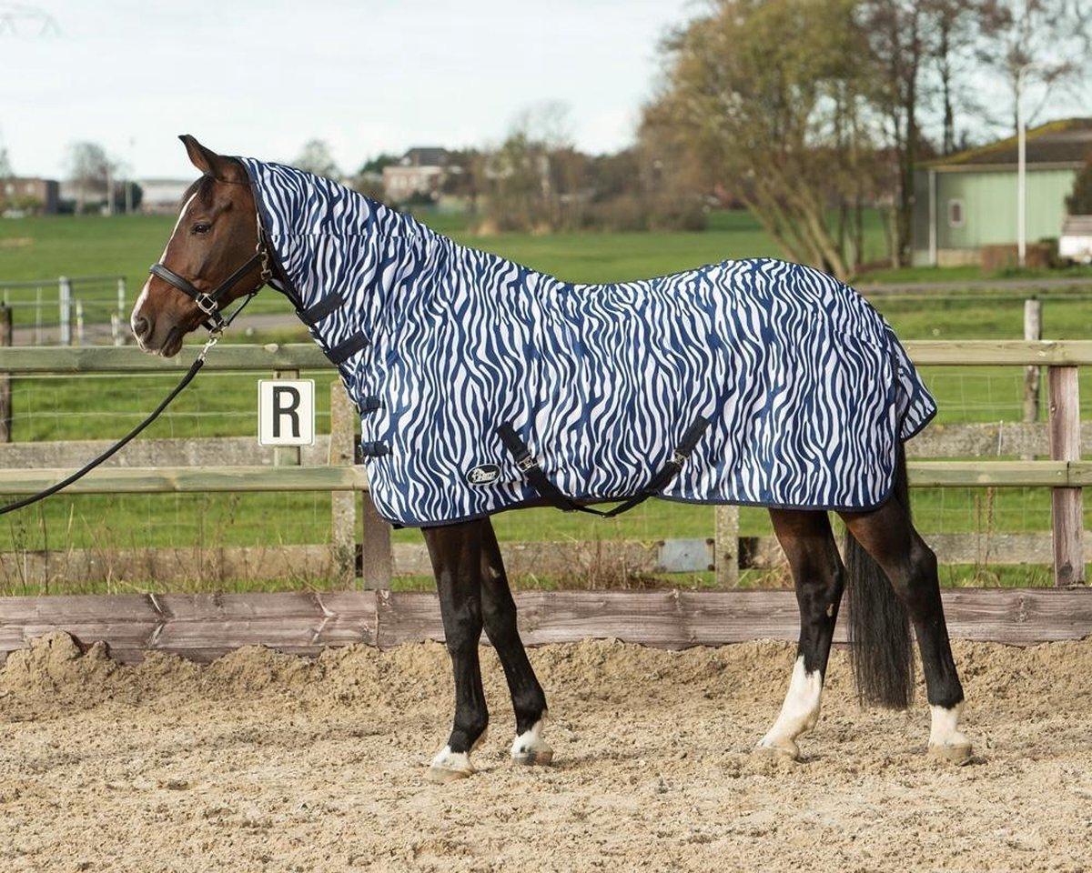 Harry's Horse Vliegendeken mesh met hals & singels, zebra medival blue 195cm