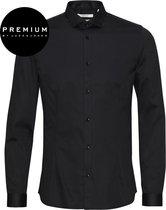 Jack and Jones Premium Heren Overhemd Parma Zwart Satijn Super Slim Fit - XS