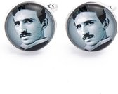 Manchetknopen - Nikola Tesla Zwart Wit