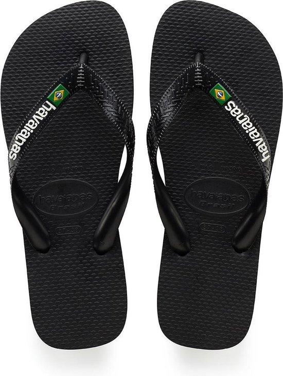 Havaianas Brasil Logo Unisex Slippers - Black - Maat 37/38