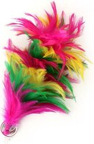 Bloem roze/geel/groen veertjes op clip/speld