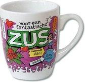 Verjaardag - Cartoon Mok - Voor een fantastische Zus - Gevuld met een toffeemix - In cadeauverpakking met gekleurd krullint