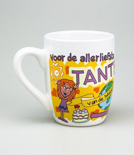 Verjaardag - Cartoon Mok - Voor de allerliefste Tante - In cadeauverpakking met gekleurd lint