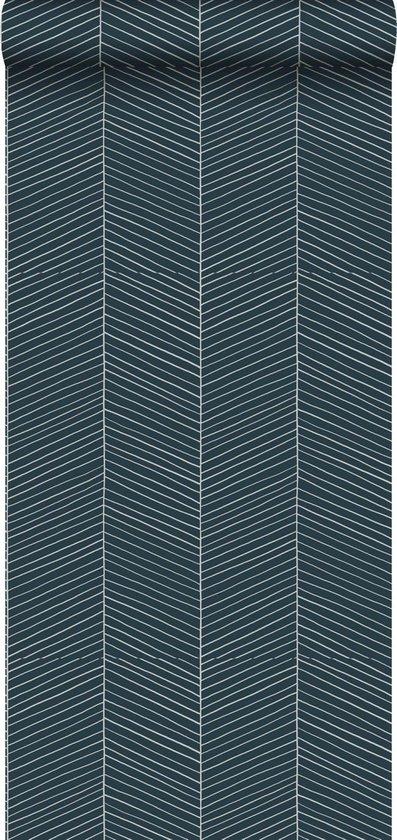 ESTAhome behangpapier visgraat-motief donkerblauw - 139109