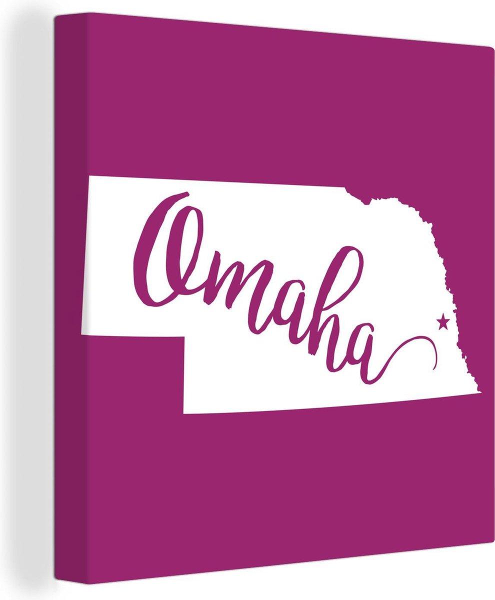 Canvas Schilderijen - de stadsnaam Omaha met een roze kader - 50x50 cm - Wanddecoratie