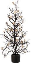 J-Line Decoratie Boom Plant Bladeren Pot Glitter Kunststof Zwart Goud L