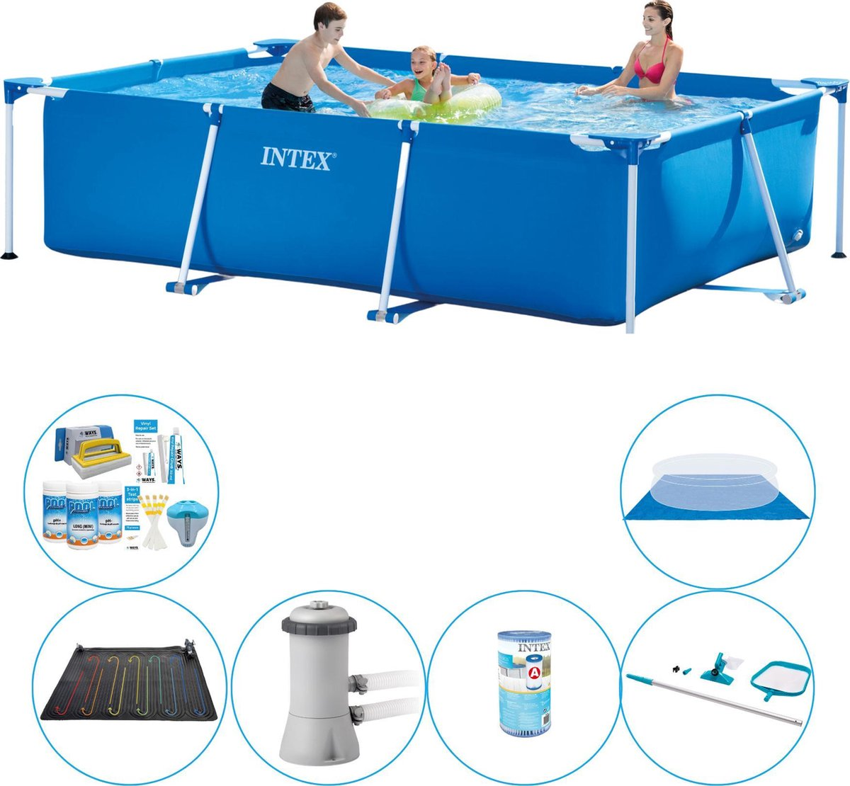 Intex Frame Pool Rechthoekig 300x200x75 cm - 7-delig - Zwembad Pakket