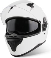 Vinz Kennet Integraalhelm met Zonnevizier / Motorhelm / Scooter helm / Brommerhelm – Mat Wit