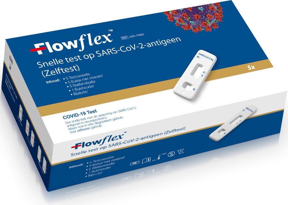 5 stuks FLOWFLEX ZELFTEST SINGLE PACKED corona ( covid 19 ) corona zelftest / sneltest 5 STUKS - Sars-CoV-2 Antigen Rapid Test 5 Stuks op De Prijzenvolger