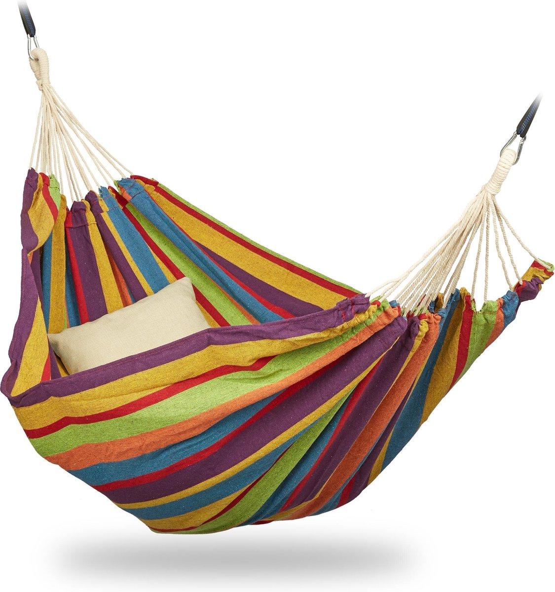 relaxdays 2 persoons hangmat - tot 300 kg - tweepersoons - buiten - katoen - opbergtas geel/groen/bl