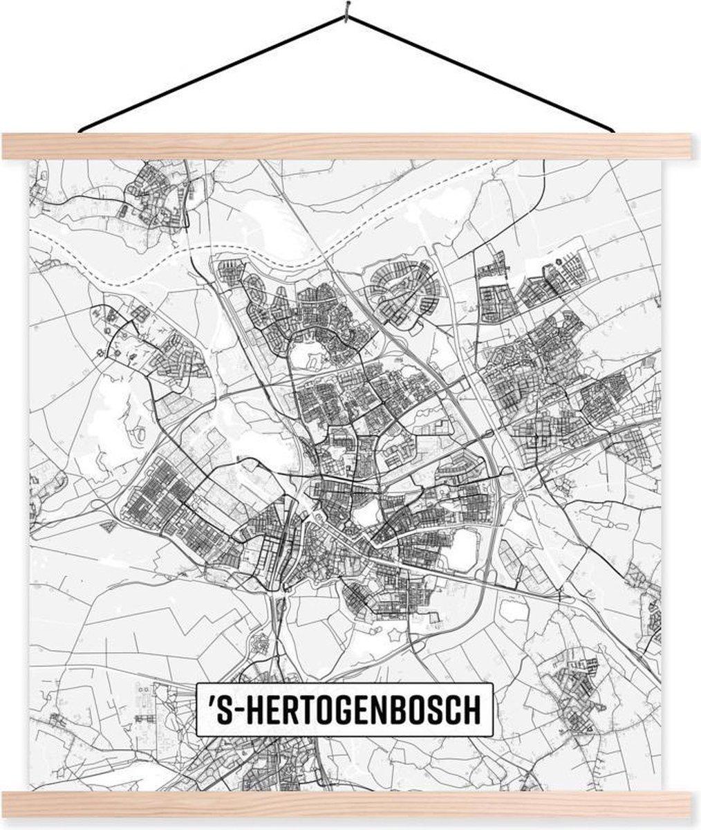 Stadskaart 's-Hertogenbosch textielposter latten blank - Plattegrond 90x90 cm - Foto print op schoolplaat (wanddecoratie woonkamer/slaapkamer)