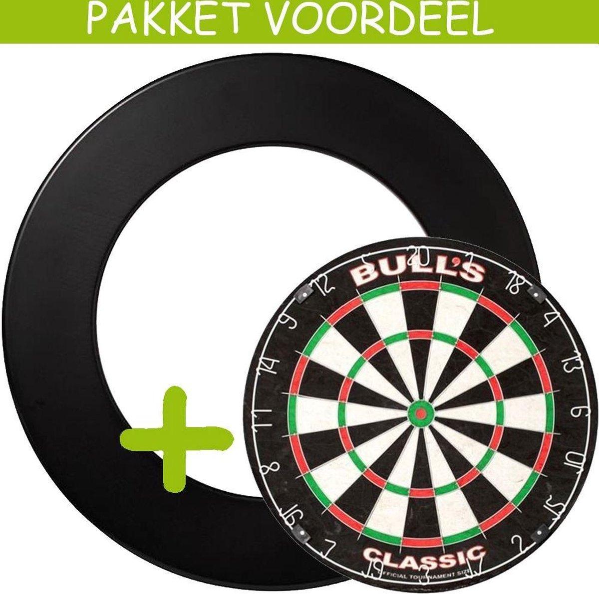 Dartbord Surround VoordeelPakket - Bulls Classic - Rubberen Surround-- (Zwart)