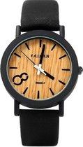 Fashion Favorite - Houtlook Horloge - Kunststof - Black/Zwart - Ø 38 mm