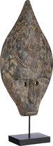 Casa Vivante Ornament Masker - L25,5 x B10 x H60 cm - Albizia Hout - Zwart