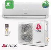 Chigo split unit airco 6 kW warmtepomp inverter A+++ Complete set 5 meter met kunststof balken  met Wi-Fi module