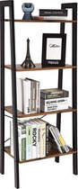 Wandkast Stoer metaal hout industrieel design open boekenkast 137 cm hoog zwart