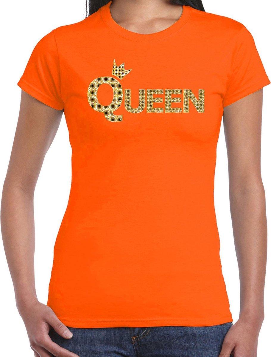 Koningsdag Queen t-shirt oranje met gouden letters en kroon dames - Koningsdag kleding / outfit XS