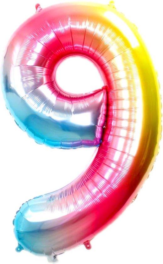 Folie Ballon Cijfer 9 Jaar Regenboog 70Cm Verjaardag Folieballon Met Rietje