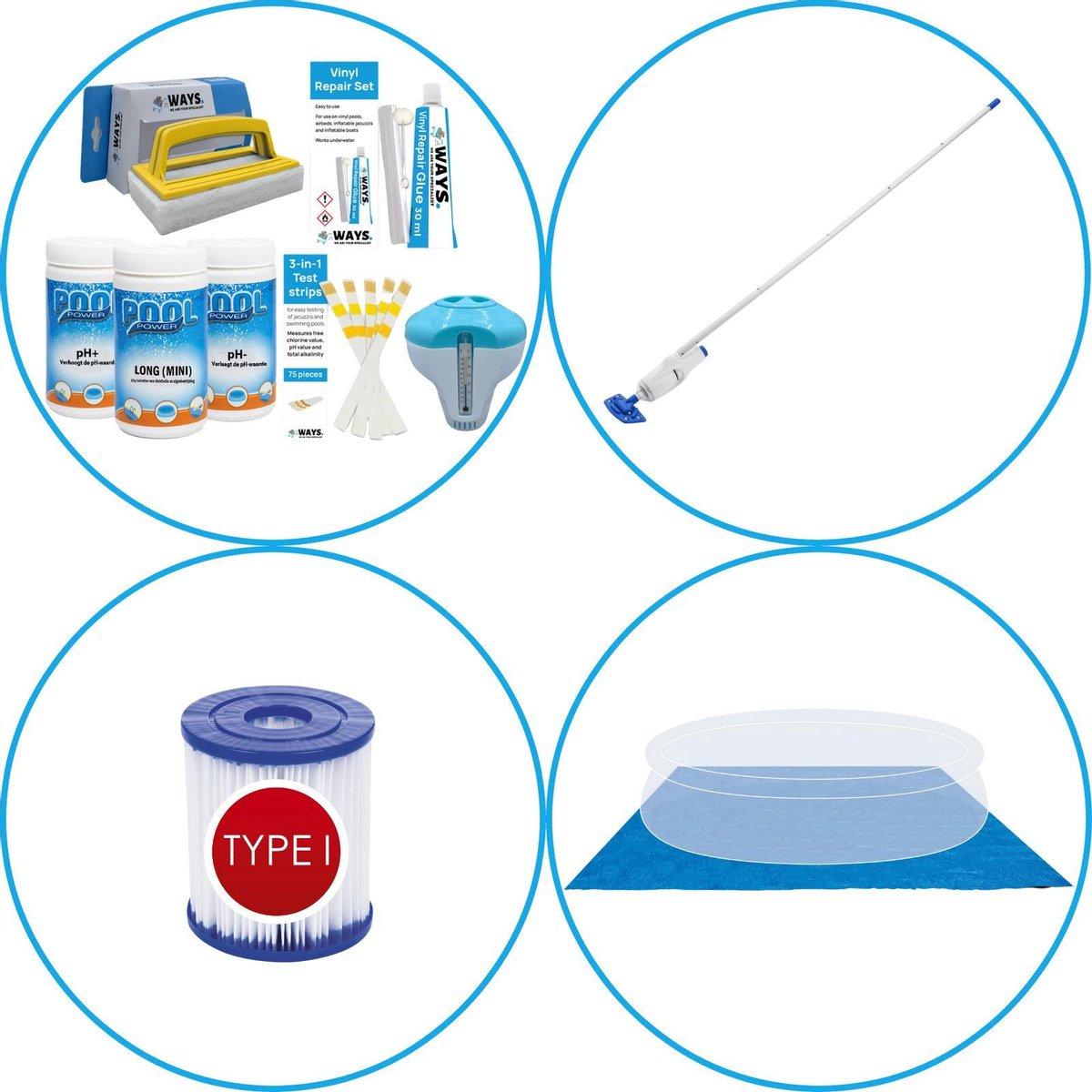 WAYS - Zwembad Accessoirepakket 4-delig - WAYS Onderhoudspakket & Zwembad filters Type I & Zwembad stofzuiger & Grondzeil