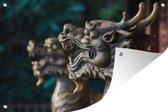 Tuinposter Chinese mythologie - Drakenbeelden in klooster 60x40 cm - Tuindoek/Buitencanvas/Schilderijen voor buiten (tuin decoratie)