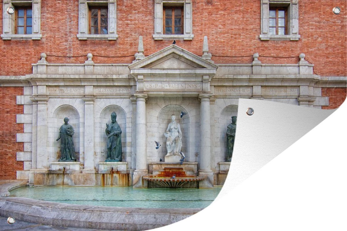 Tuinposter Fontein - Standbeeld - Valencia - 120x80 cm - Tuin