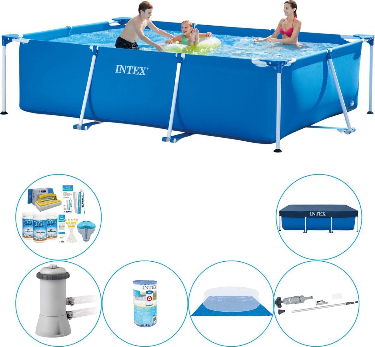 Intex Frame Pool Rechthoekig 300x200x75 cm - Zwembad Inclusief Accessoires