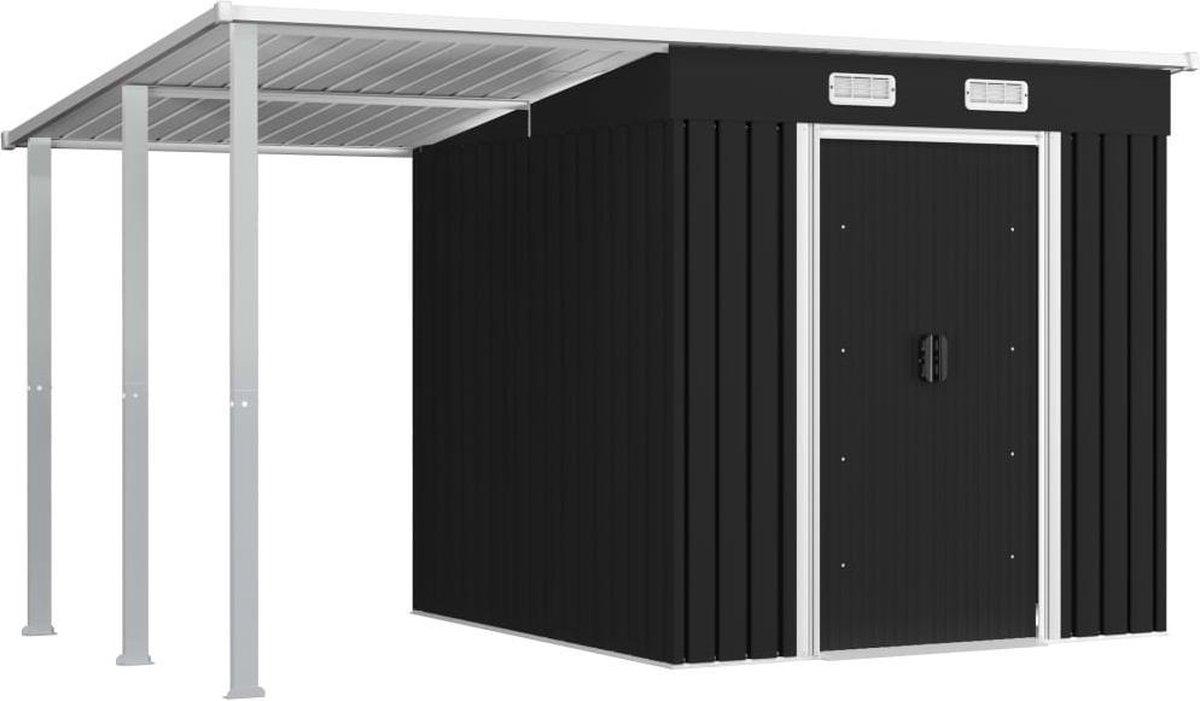 VidaXL Tuinschuur met verlengd dak 346x193x181 cm staal antraciet VDXL_144036 online kopen