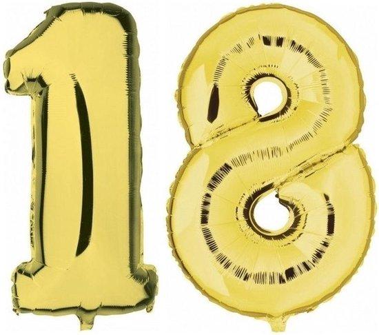 18 jaar gouden folie ballonnen 88 cm leeftijd/cijfer - Leeftijdsartikelen 18e verjaardag versiering - Heliumballonnen