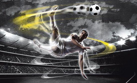 Fotobehang Vlies | Voetbal | Grijs, Geel | 368x254cm (bxh)