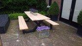 Picknick Tafel Douglas   Zwart Structuur   250cm   X-onderstel   Robuuste Picknicktafel