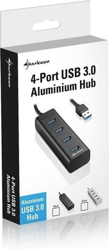 Sharkoon 4-Port USB 3.0 Aluminium Hub zwart
