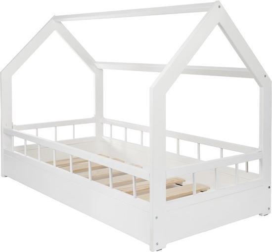 Houten bed - Huisbed - Huis bed - kinderbed - 160x80 cm - wit - met barrière
