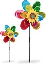 relaxdays 2 x windmolen bloem - windmolentje kinderen - tuindecoratie - gekleurd windspel