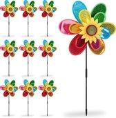 relaxdays 10 x windmolen bloem - windmolentje kinderen - tuindecoratie - gekleurd windspel