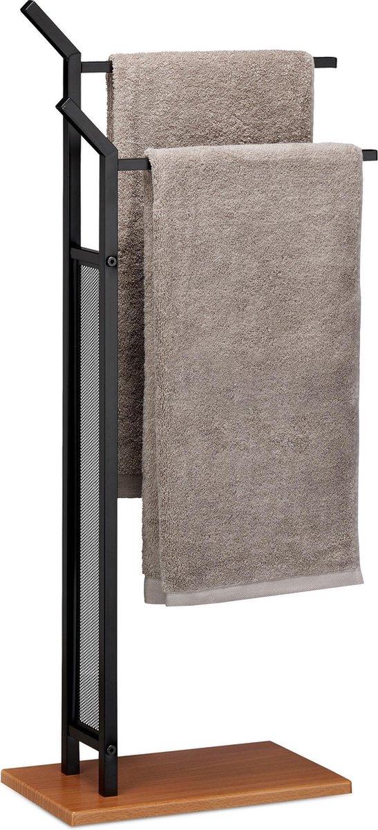 relaxdays handdoekhouder vrijstaand - tweearmig - handdoekenrek - handdoekdrager - zwart