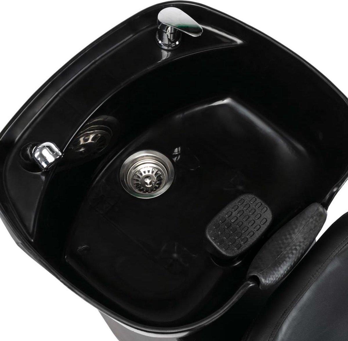 vidaXL Wasstoel met waskom kunstleer zwart VDXL_110272