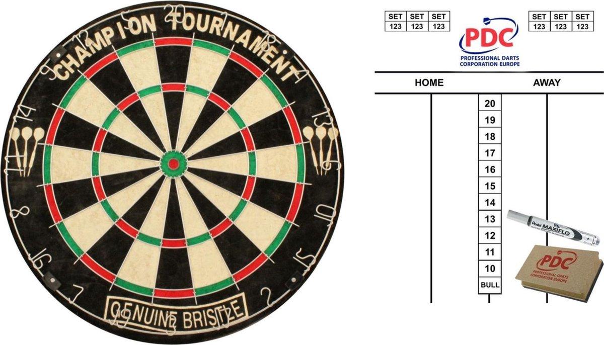 Luxe klassiek dartbord 45 cm met scorebord met marker en wisser 45x30 cm - Darts/Darten set