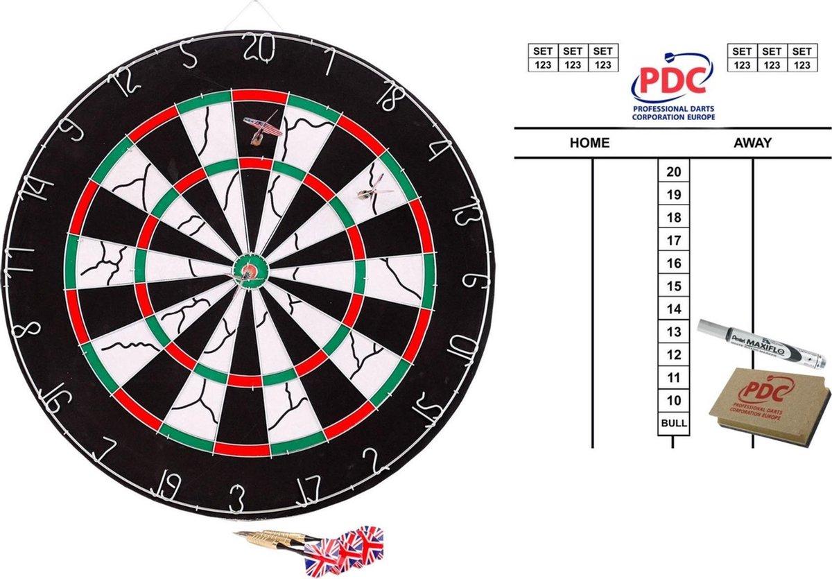 Dartbord met 6 pijlen 45 cm met scorebord met marker en wisser 45x30 cm