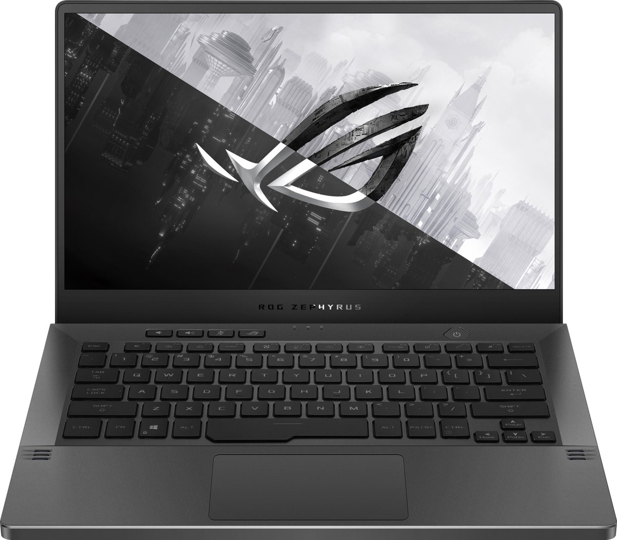 ASUS ROG Zephyrus G14 GA401QM-HZ024T-BE Notebook 35,6 cm (14) 1920 x 1080 Pixels AMD Ryzen 7 16 GB DDR4-SDRAM 1000 GB SSD NVIDIA GeForce RTX 3060 Wi-Fi 6 (802.11ax) Windows 10 Home Grijs