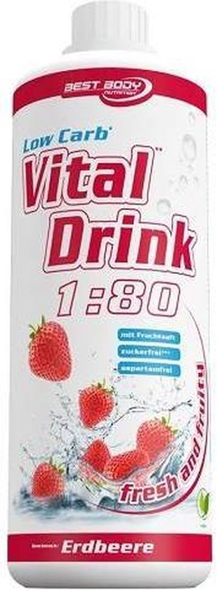 Best Body Nutrition Low Carb Vital Drink - 1000 ml - Strawberry
