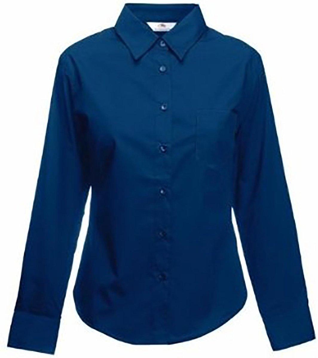 Fruit Of The Loom Vrouwen Dames-Fit poplin Overhemd Lange Mouwen (Marine)