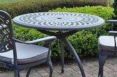 1 bronskleurige tuintafel diam 90 in gegoten aluminium - Collectie Baswick