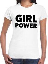 Girl Power tekst t-shirt wit voor dames - dames fun shirts L