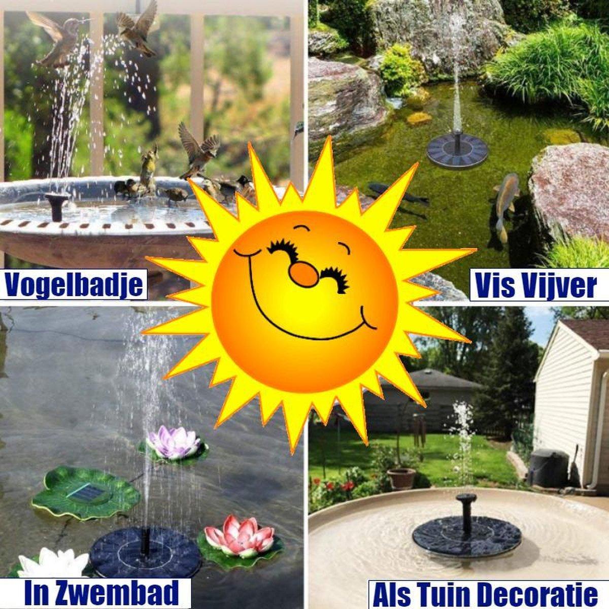 SOLAR Fontijn op zonne energie - Fonteinset - Zon energie Waterfontein - Fontijn op zonneenergie voor Vijver of Vijvertje - Fontijnpomp Vogelbad / Vijver tuindecoratie / Kamerfontein - Gratis 4x Fonteinen sproeistuk voor verschillende water effecten