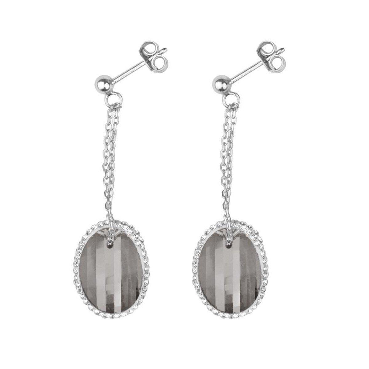 Silventi 921182872 Zilveren Oorstekers met Hanger - Ovaal - Grijs  - 10 x 16 mm - Kristal - Kristal - Zilverkleurig